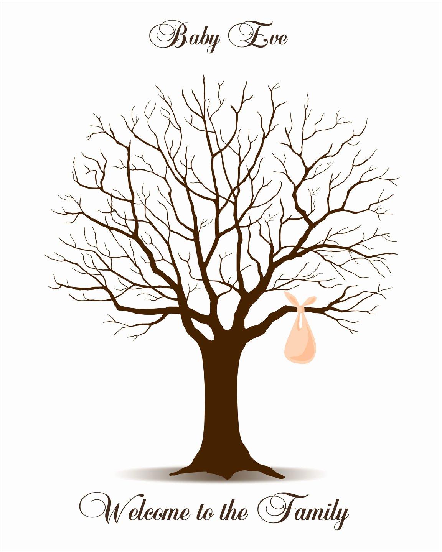 Fingerprint Trees Templates Luxury Baby Shower Fingerprint Tree Printable Jpeg by