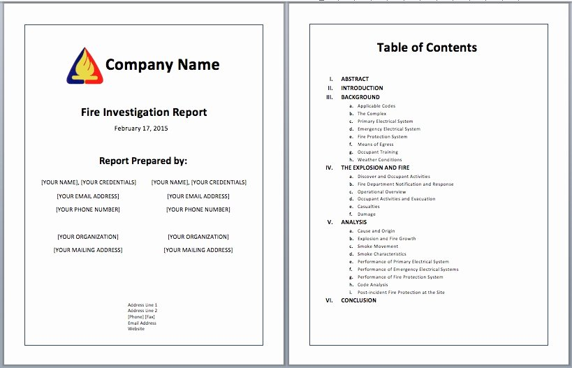 Fire Report Template Best Of Investigative Report Template