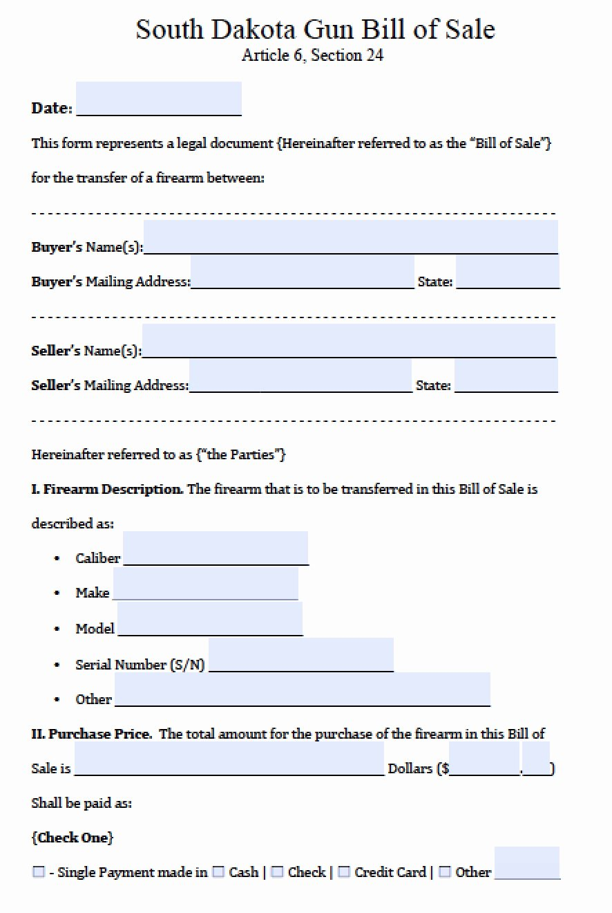Firearm Bill Of Sale Word Doc Inspirational Free south Dakota Firearm Bill Of Sale form Pdf