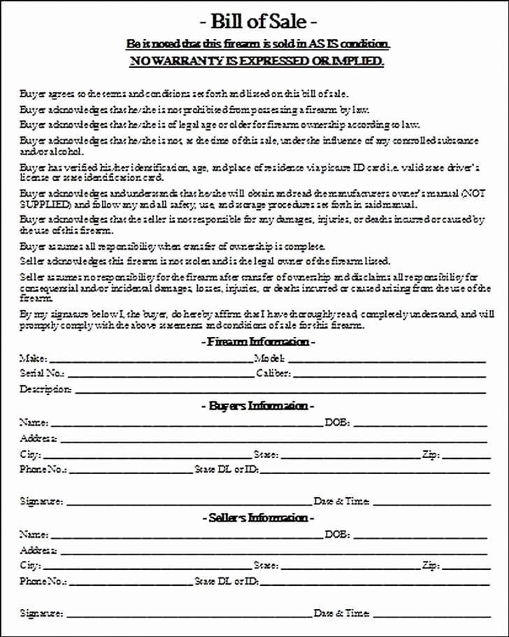 Firearm Bill Of Sale Word Doc Inspirational Handgun Bill Sale Printable Firearm Louisiana with