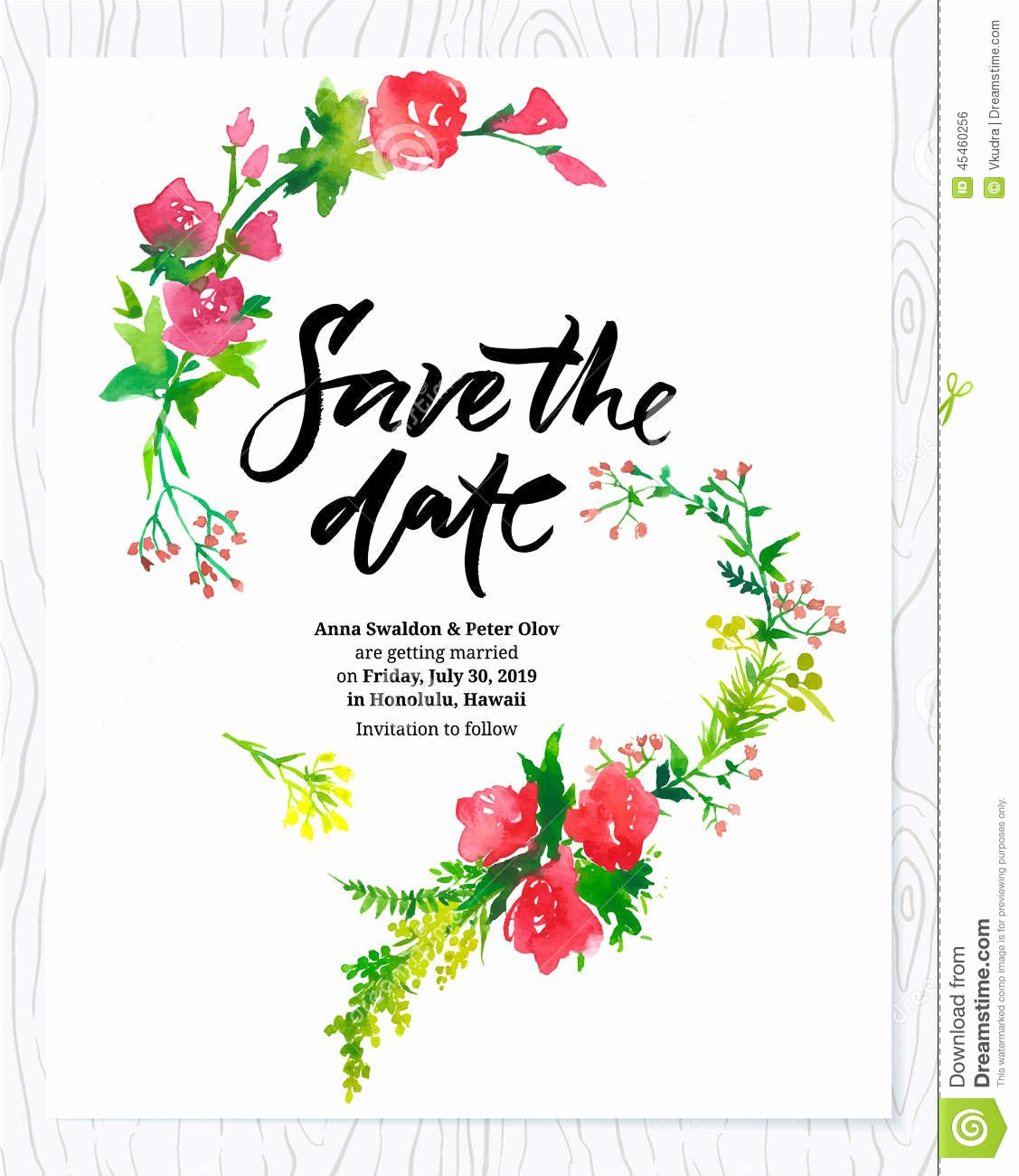 Floral Invitation Template Beautiful Wedding Floral Watercolor Card Save the Date Stock Vector