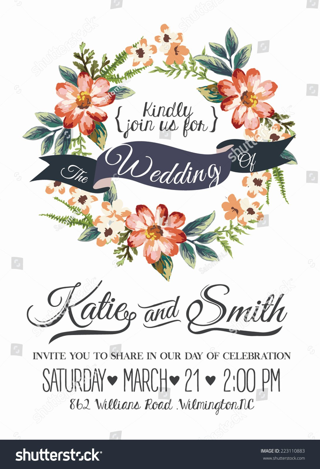 Floral Invitation Template Best Of Wedding Invitation Card Romantic Flower Templates Stock
