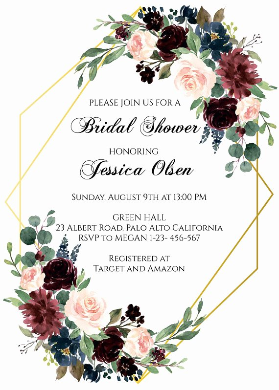 Floral Invitation Template Inspirational Burgundy and Navy Blue Bridal Shower Invitation Template