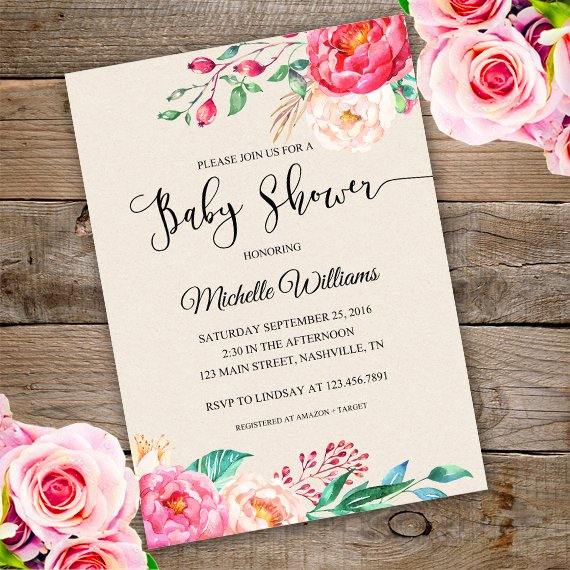 floral baby shower invitation template edit with adobe reader