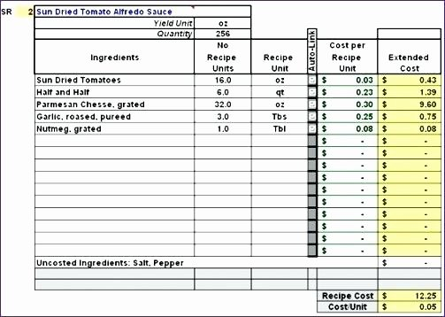 Food Costing Template Elegant Recipe Costing Template