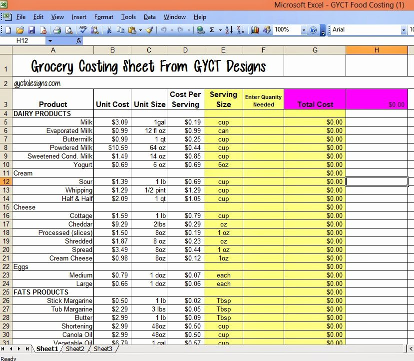 Food Costing Template Lovely Cost Of Food for organize Me Sizzlin Summer Gyct Designs