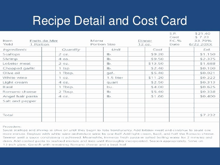 Food Costing Template Luxury Download Standardized Recipe Card Template