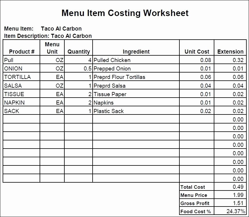 Food Costing Template Unique Food Cost Spread Sheet Best Of How to Create A Food Cost
