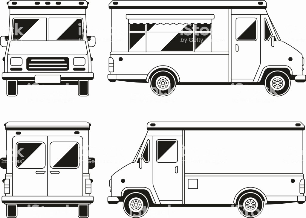 blank mercial food truck in different points of view outline vector template for gm