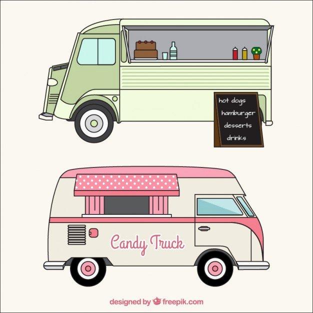 Food Truck Layout Template Elegant Sketches Of Food Trucks In Vintage Style Vector
