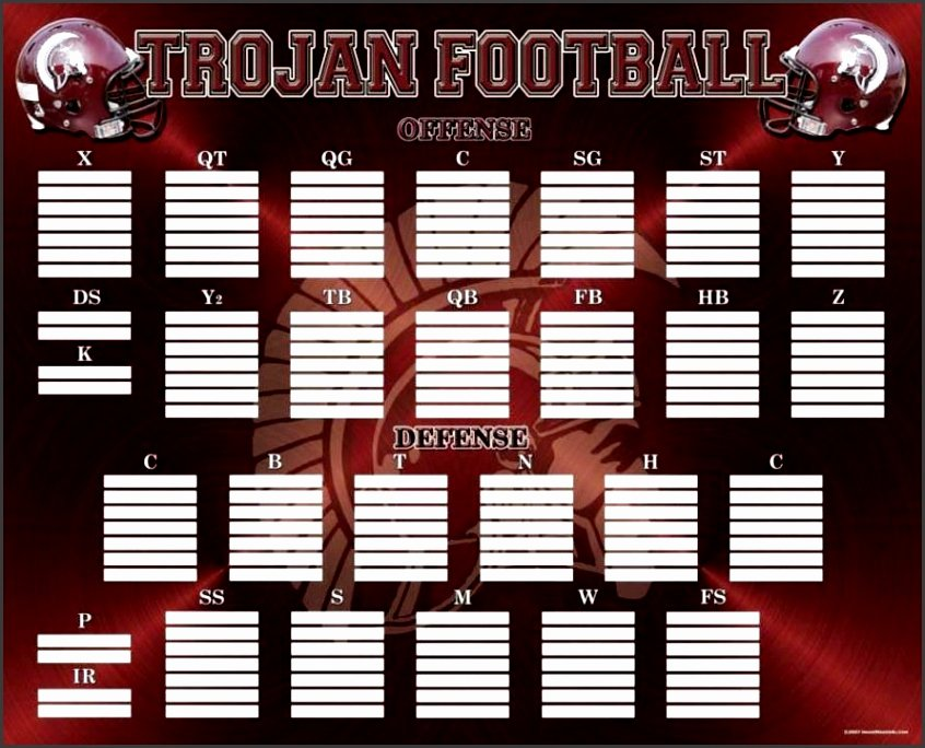 Football Depth Chart Template Excel format New Blank Football Depth Chart Template Sampletemplatess