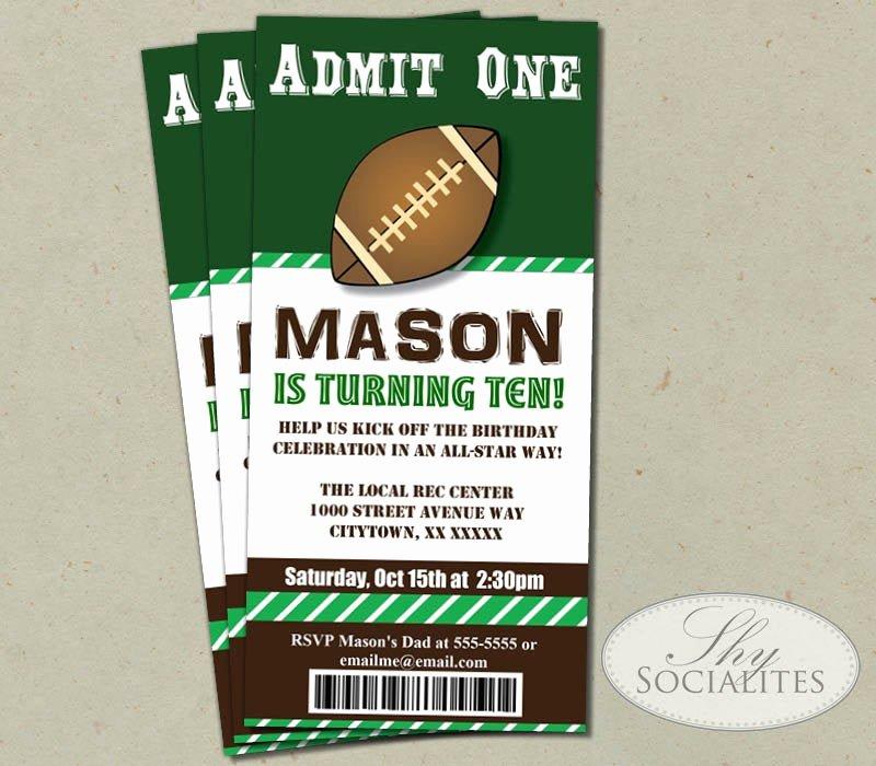 Football Ticket Template Luxury Football Ticket Printable Invitations Admit E Football