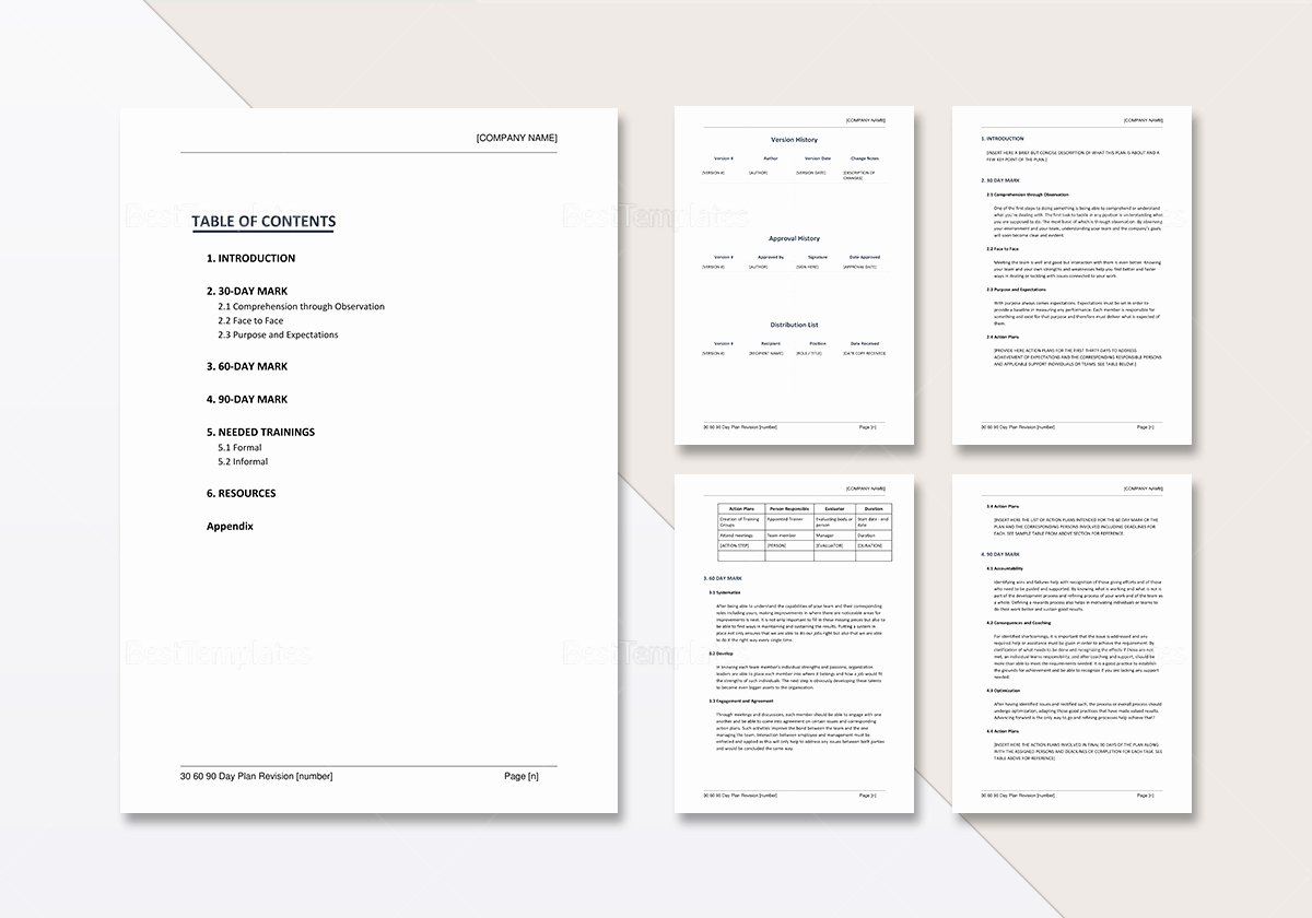 Free 30 60 90 Day Plan Template Word Inspirational 30 60 90 Day Plan Template In Word Google Docs Apple Pages