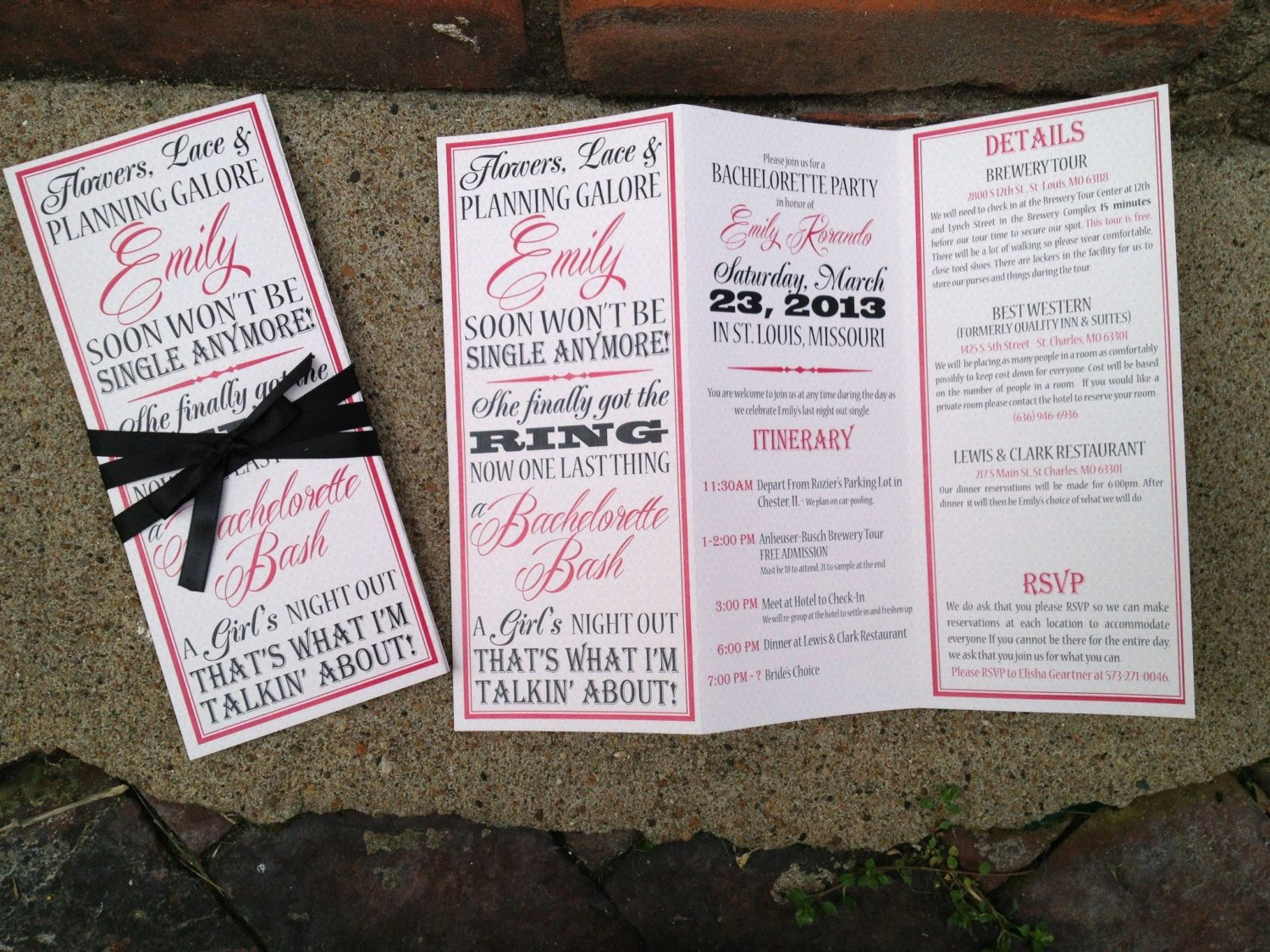 bachelorette party invite trifolded