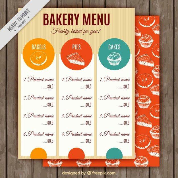 Free Bakery Menu Template Beautiful Vintage Bakery Menu Template Vector