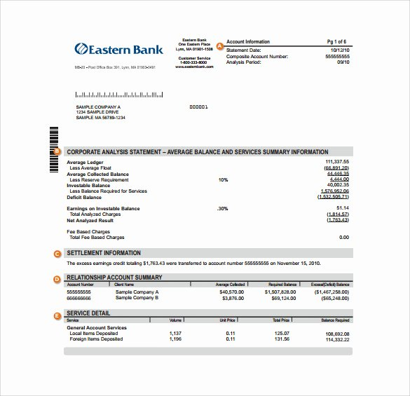 Free Bank Statement Template Awesome Sample Bank Statement Template 13 Free Documents