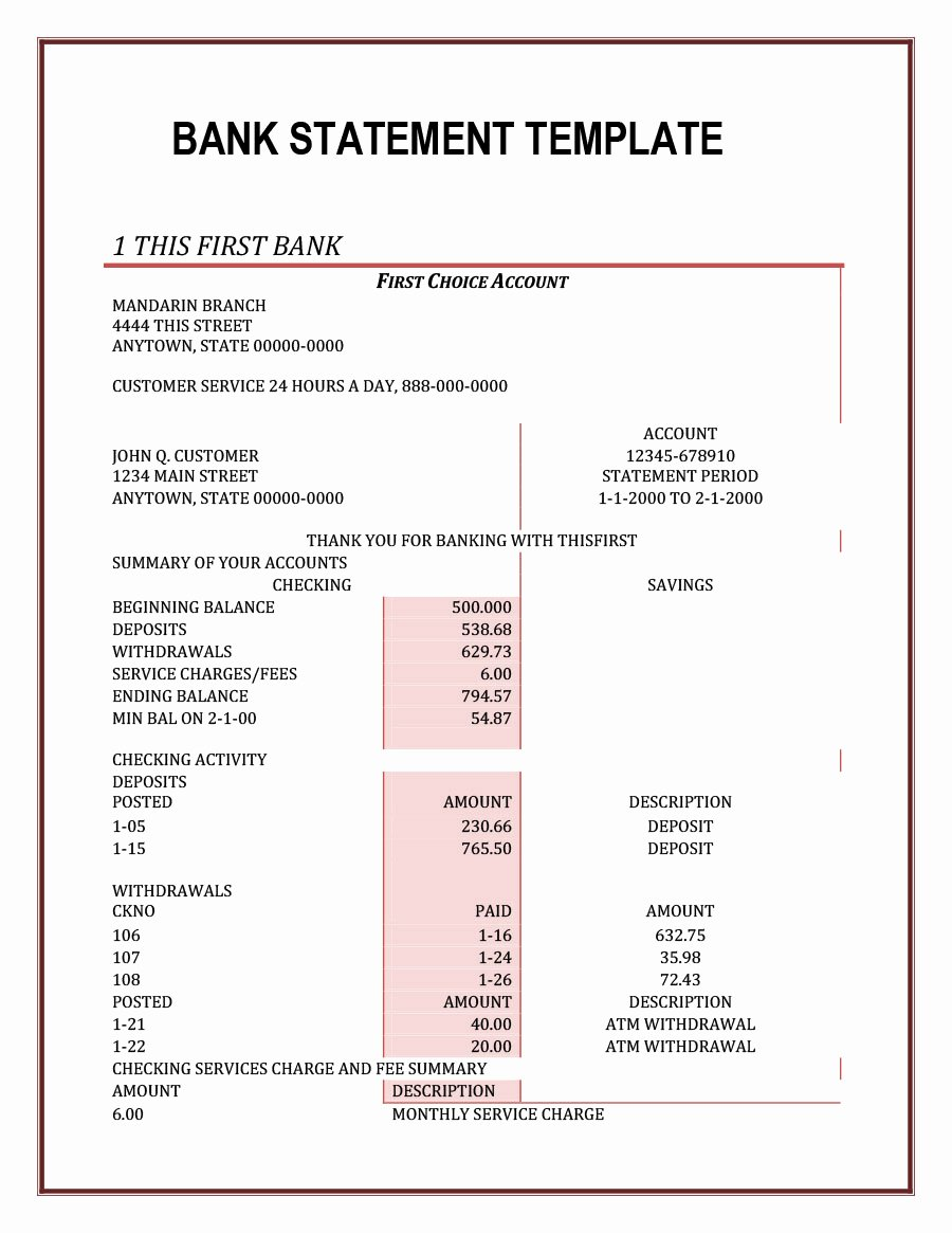 Free Bank Statement Template Best Of 23 Editable Bank Statement Templates [free] Template Lab