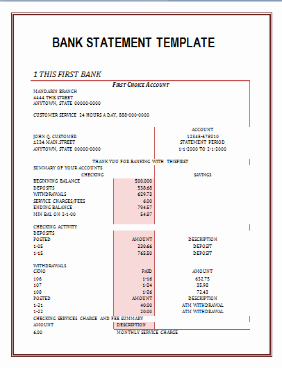Free Bank Statement Template New Bank Statement Template