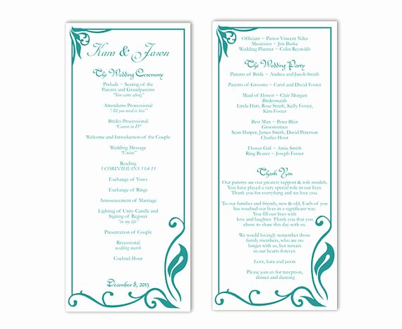 wedding program template diy editable text word file program teal wedding program blue program printable wedding program 4x925inch