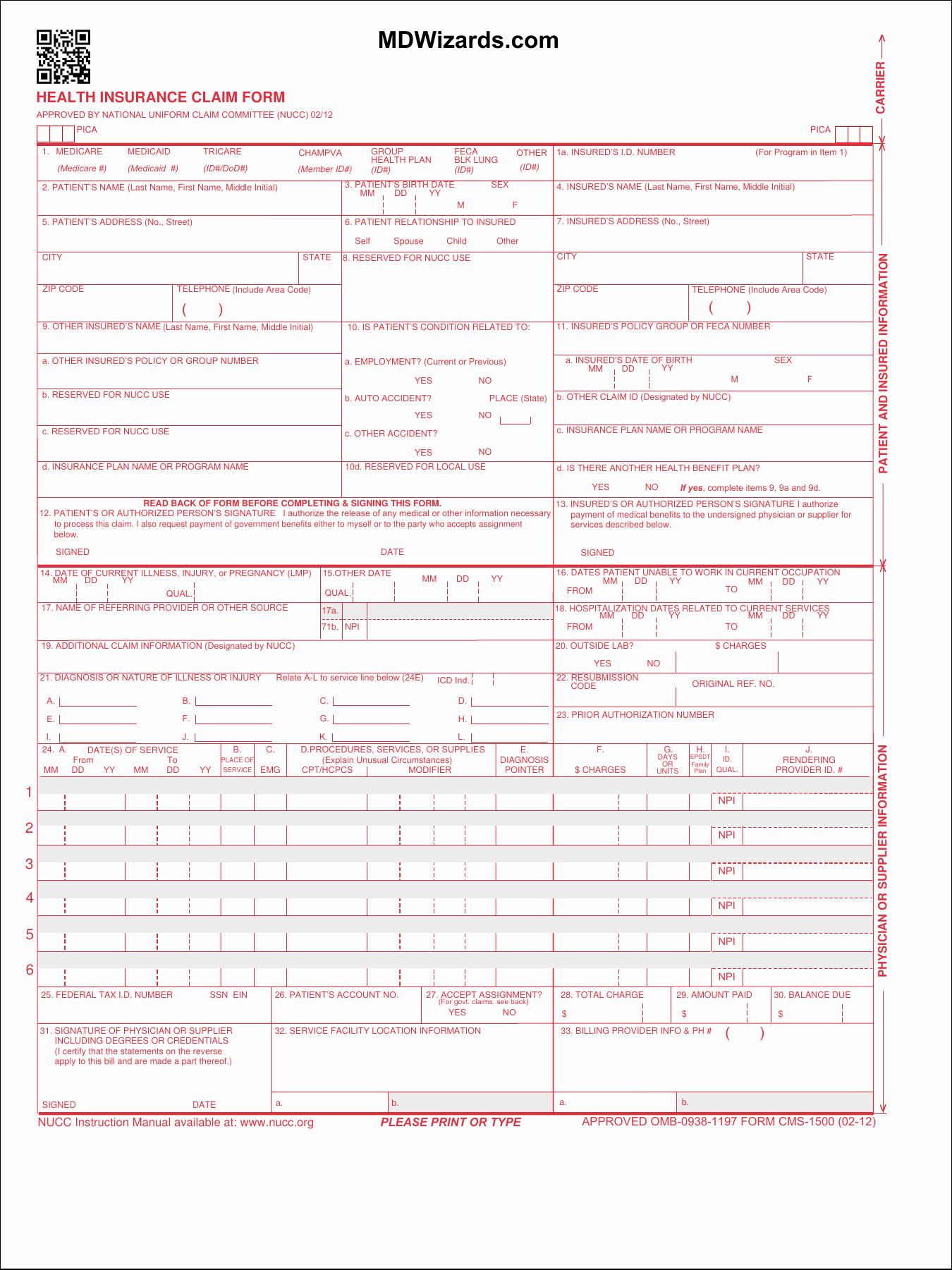 hcfa 1500 form