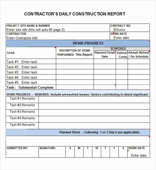 Free Construction Daily Report Template Excel Luxury Daily Report 7 Free Pdf Doc Download