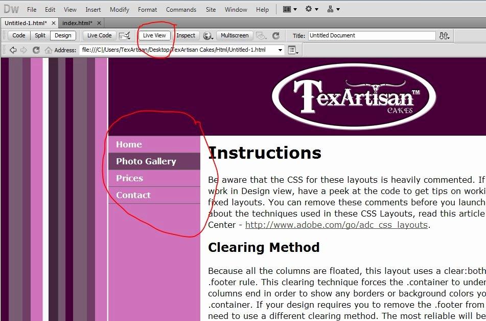 customizing your dreamweaver template 29