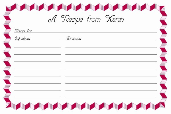 Free Editable Recipe Card Templates for Microsoft Word Awesome Recipe Card Template 2