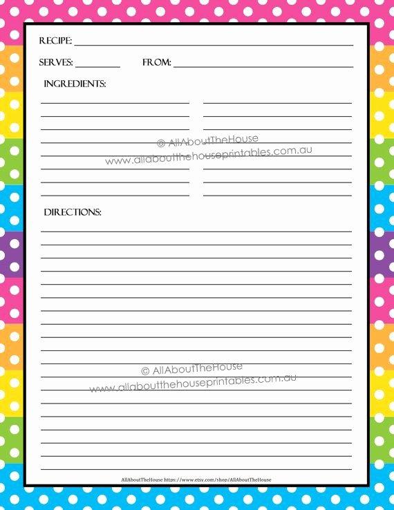 Free Editable Recipe Card Templates for Microsoft Word Beautiful Editable Printable Recipe Card Template Pdf Sheet