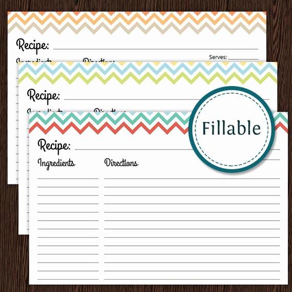 Free Editable Recipe Card Templates for Microsoft Word Fresh Recipe Card Colourful Chevron Fillable 4x6 Recipe Card