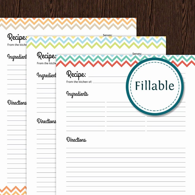 Free Editable Recipe Card Templates for Microsoft Word Inspirational Recipe Card Full Page Colourful Chevron Fillable