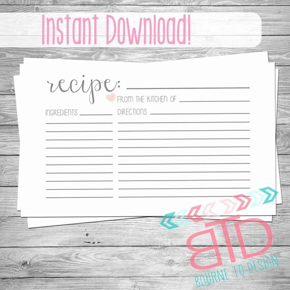 Free Editable Recipe Card Templates for Microsoft Word Unique Recipe Card Printable Recipe Card Instant Download Kitchen