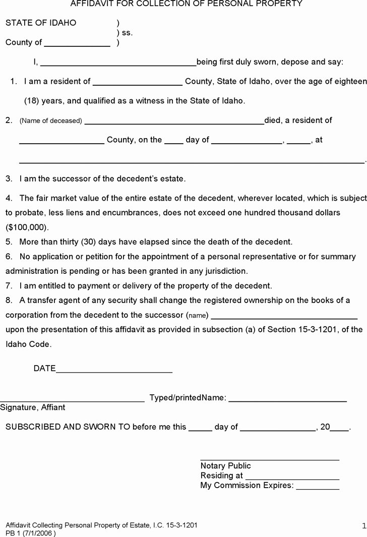 Free General Affidavit form Download Awesome 11 Idaho Affidavit form Free Download