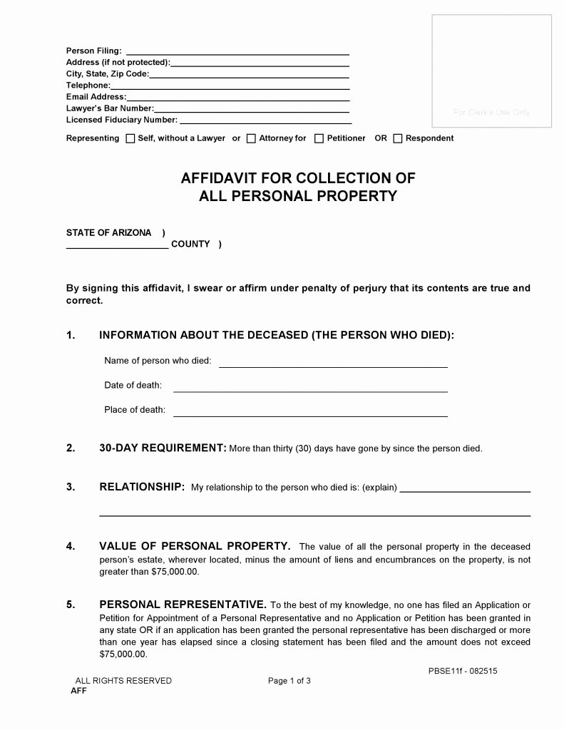 Free General Affidavit form Download Awesome Free Arizona Small Estate Affidavit form Pdf Word