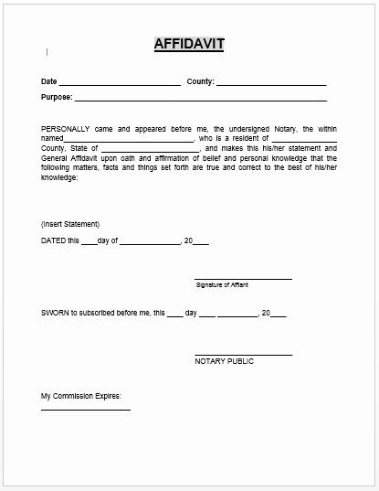 Free General Affidavit form Download Beautiful Affidavit form Microsoft Word Templates
