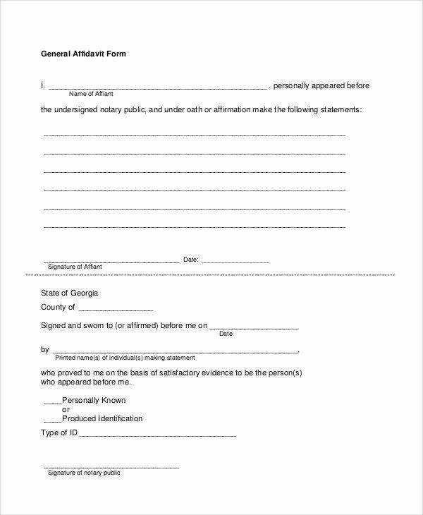 Free General Affidavit form Download Luxury 7 Sample Blank Affidavit forms Pdf
