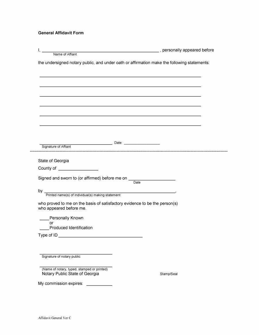 Free General Affidavit form Download New 14 15 Personal Affidavit Sample