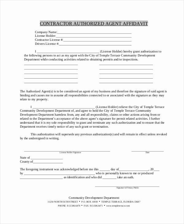 Free General Affidavit form Download New 9 Contractor Affidavit form Sample Free Sample Example
