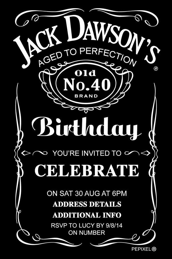 Free Jack Daniels Label Template Beautiful Jack Daniels Birthday Digital Printable Invitation