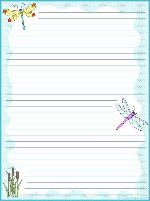 Free Lined Stationery Templates Beautiful Dragonfly Stationary Free Printables
