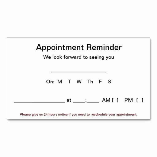 Free Printable Appointment Reminder Cards Awesome Appointment Reminder Cards 100 Pack White Business Card