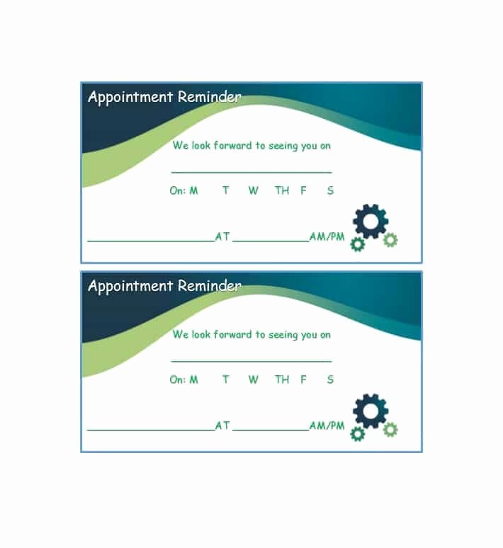Free Printable Appointment Reminder Cards Beautiful 40 Appointment Cards Templates & Appointment Reminders