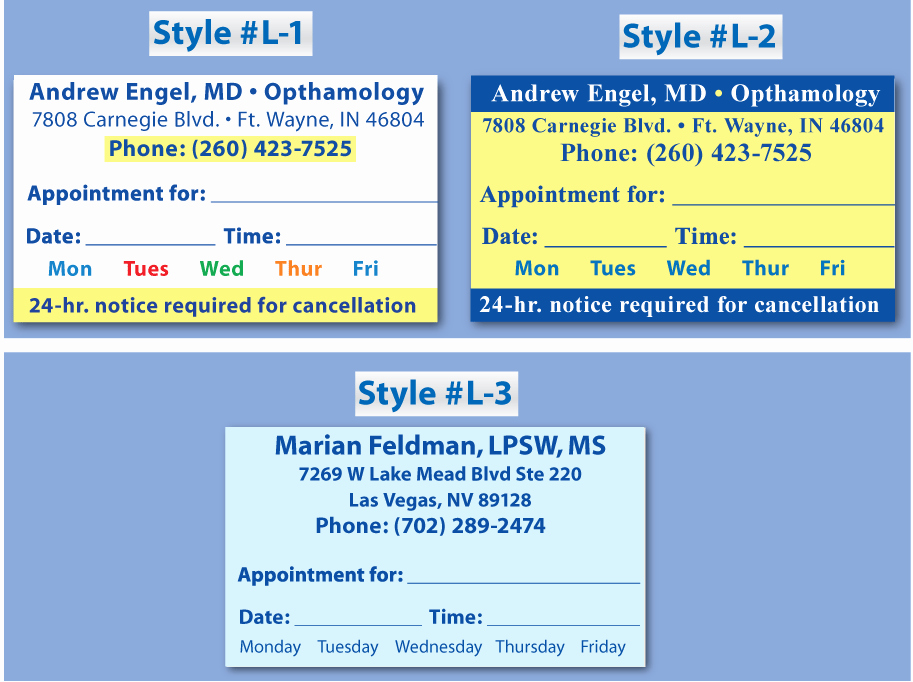 Free Printable Appointment Reminder Cards Lovely Sample Medical Appointment Card Bing Images