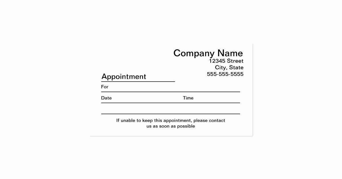 Free Printable Appointment Reminder Cards Luxury Appointment Reminder Card Template Bing Images