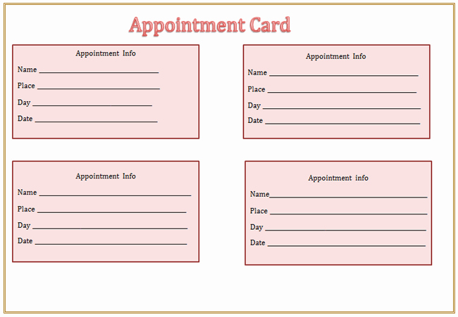 Free Printable Appointment Reminder Cards New Appointment Card Template Microsoft Word Templates