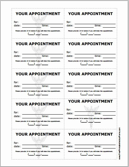 Free Printable Appointment Reminder Cards New Patient Appointment Cards Template