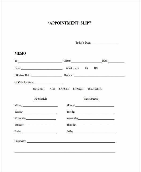 Free Printable Appointment Reminder Cards Unique 8 Appointment Slip Templates