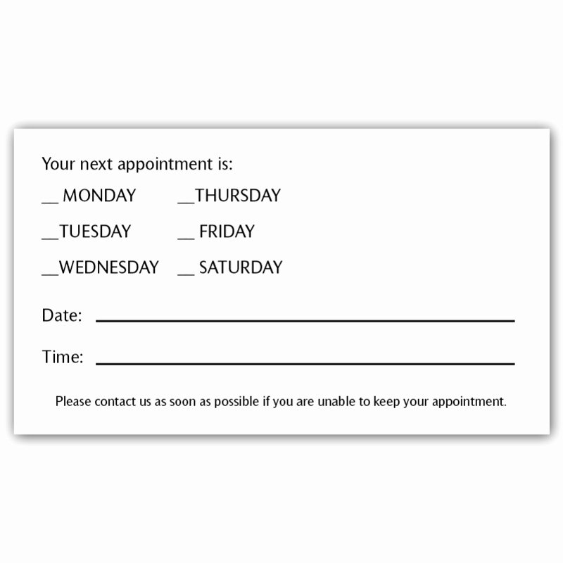 Free Printable Appointment Reminder Cards Unique Appointment Card 1