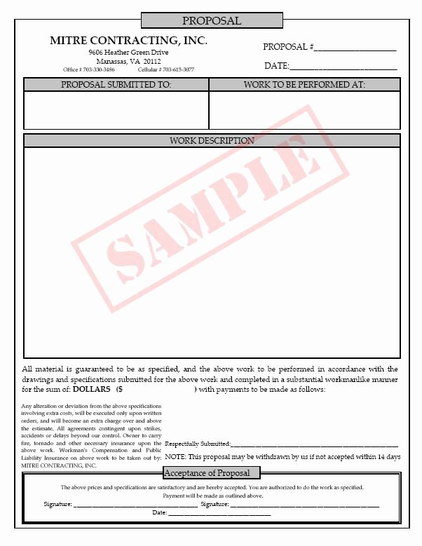 Free Printable Contractor Proposal forms Beautiful Printable Blank Bid Proposal forms