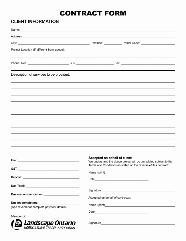 Free Printable Contractor Proposal forms Fresh Nice Sample Of Printable Blank Contract Template with