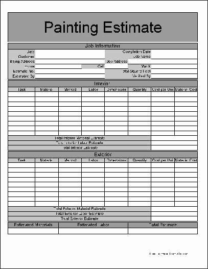 Free Printable Contractor Proposal forms Luxury Printable Job Estimate forms